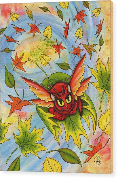 Autumn Winds Fairy Cat Wood Print