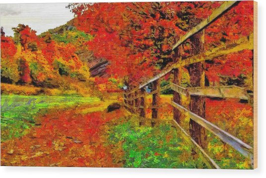 Autumnal Blaze Of Glory Wood Print