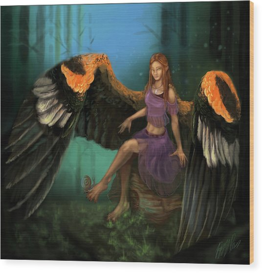 Autumn's Wings Wood Print by Poppy Paizs