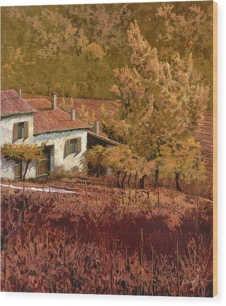 Autunno Rosso Wood Print