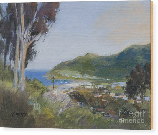 Avalon Harbor - Taking The High Road Catalina Island Oil Painting Wood Print by Karen Winters