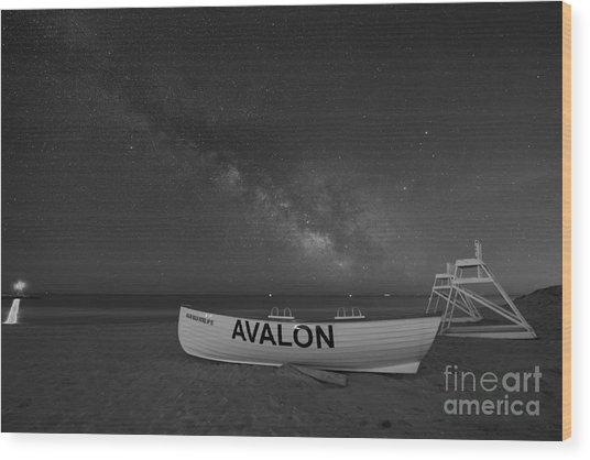 Avalon Milky Way Bw Wood Print