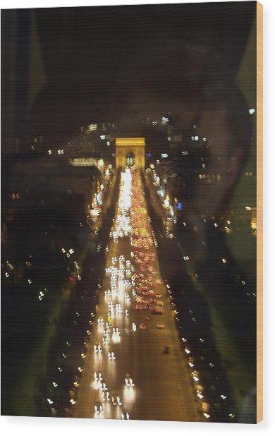 Avenue Des Champs D Elysees Wood Print