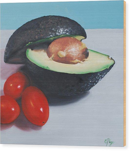 Avocado And Cherry Tomatoes Wood Print