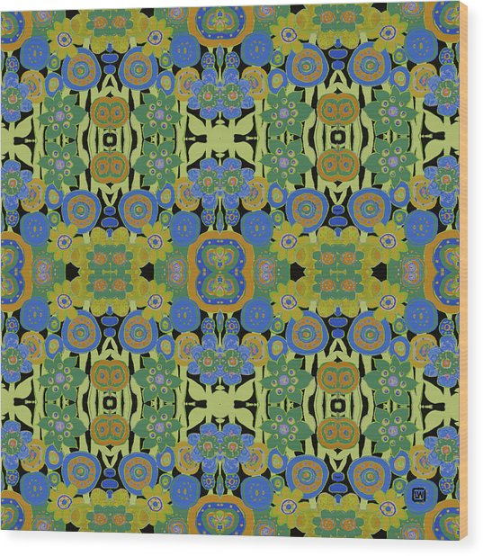 Avocado Blue Pattern Wood Print