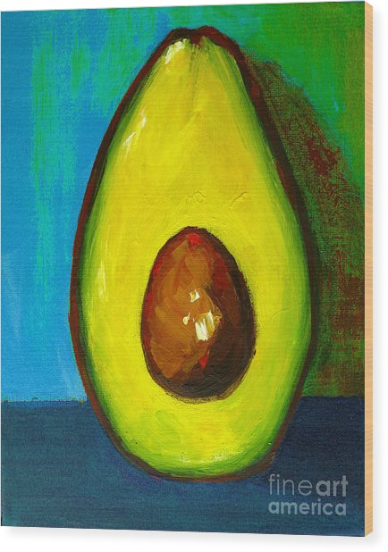 Avocado, Modern Art, Kitchen Decor, Blue Green Background Wood Print