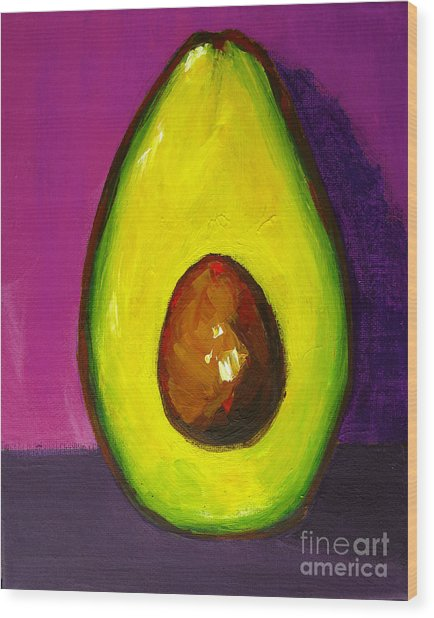 Avocado Modern Art, Kitchen Decor, Purple Background Wood Print
