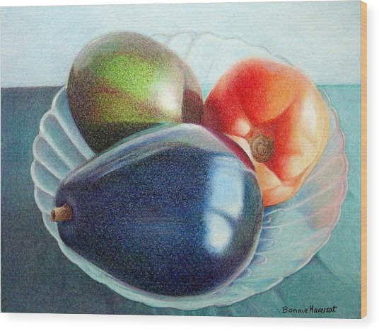 Avocados And A Tomato Wood Print by Bonnie Haversat