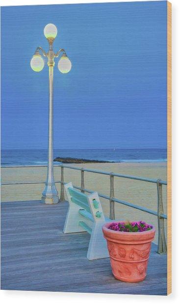 Avon Boardwalk At Twilight Wood Print