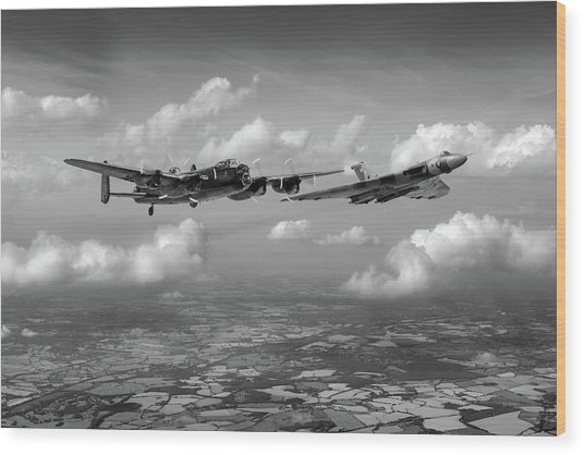 Wood Print featuring the photograph Avro Sisters Bw Version by Gary Eason