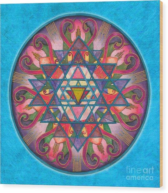 Awareness Mandala Wood Print