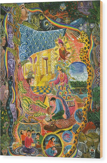 Wood Print featuring the painting Ayahuasca Chayana by Pablo Amaringo