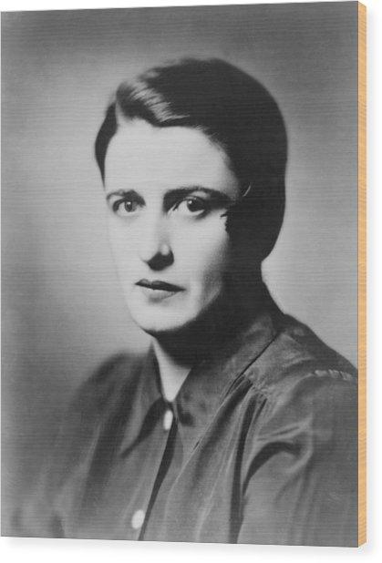 Ayn Rand 1905-1982 Russian Born Wood Print