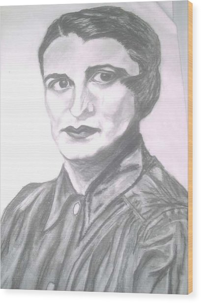 Ayn Rand Wood Print by Nancy Caccioppo