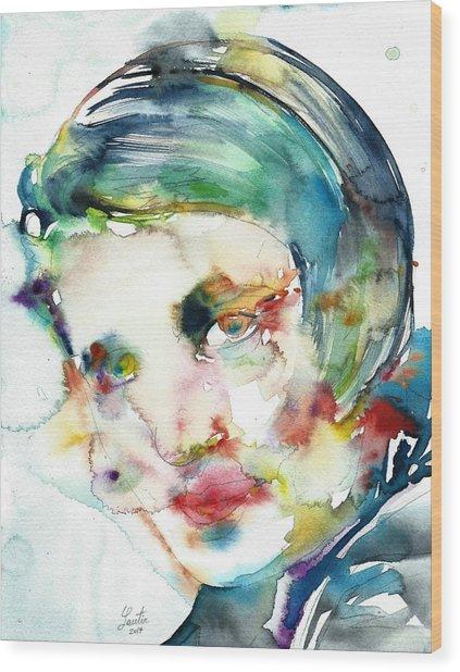 Ayn Rand - Watercolor Portrait.2 Wood Print