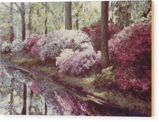 Azaleas By The Lake Wood Print