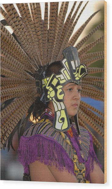 Aztec Dancer Wood Print by Dennis Hammer