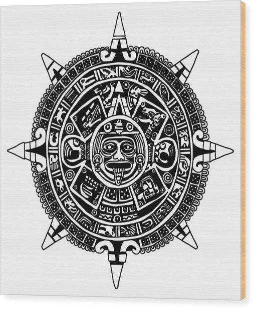 Aztecs Calendar Wood Print