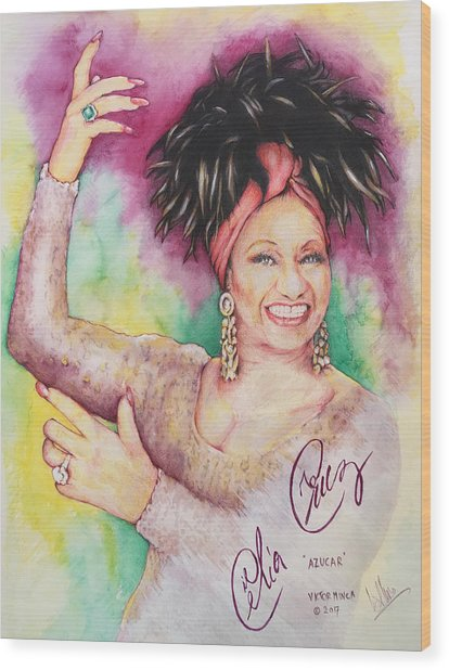 Azucar Celia Cruz Wood Print