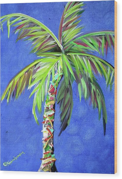 Azul Palm Wood Print