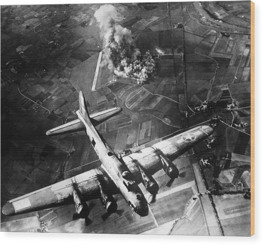 B-17 Bomber Over Germany  Wood Print