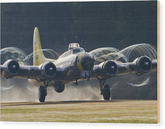 B-17 Chuckie Taking Off Wood Print