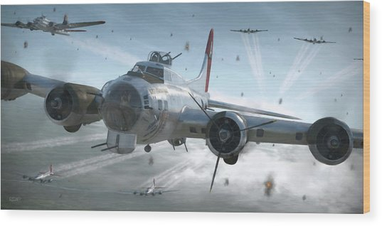 B-17g Hikin' For Home - Painterly Wood Print