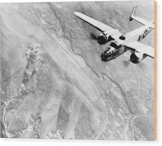B-25 Bomber Over Germany Wood Print