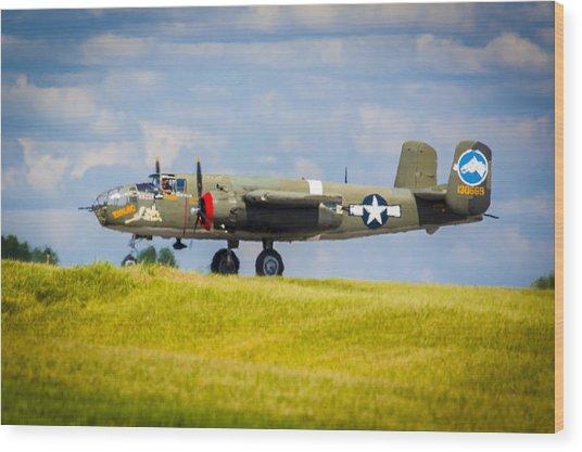 B-25 Landing Original Wood Print