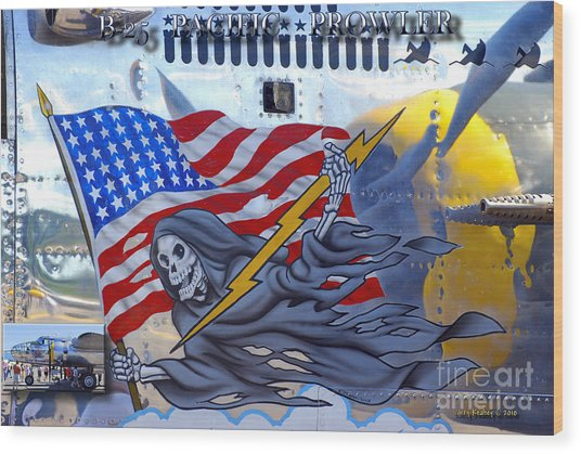 B-25 Pacific Prowler Nose Art Wood Print by Larry Keahey