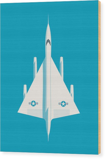 B-58 Hustler Supersonic Jet Bomber - Blue Wood Print