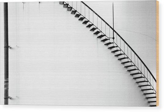 B And W Stairs Wood Print