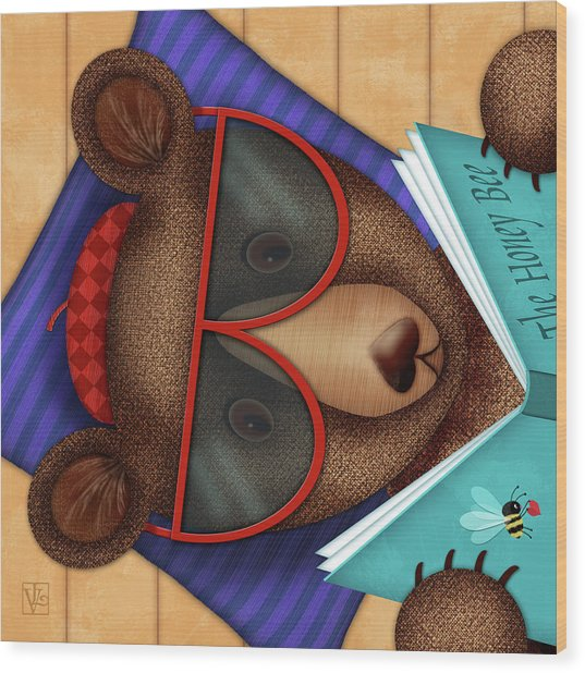 B Is For Brown Bear Wood Print