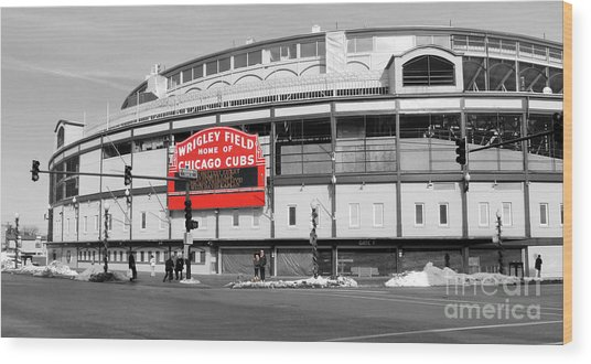 B-w Wrigley 100 Years Young Wood Print