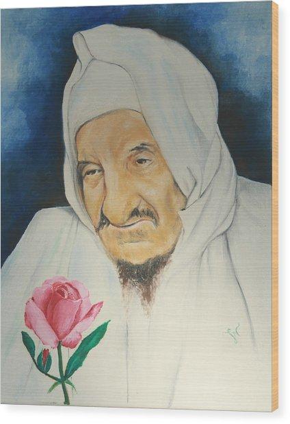 Baba Sali With Rose Wood Print