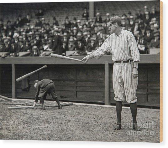 Babe Ruth At Bat Wood Print