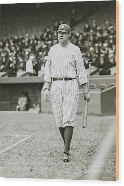 Babe Ruth Going To Bat Wood Print