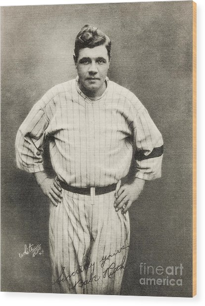 Babe Ruth Portrait Wood Print