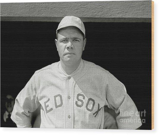 Babe Ruth Red Sox Wood Print