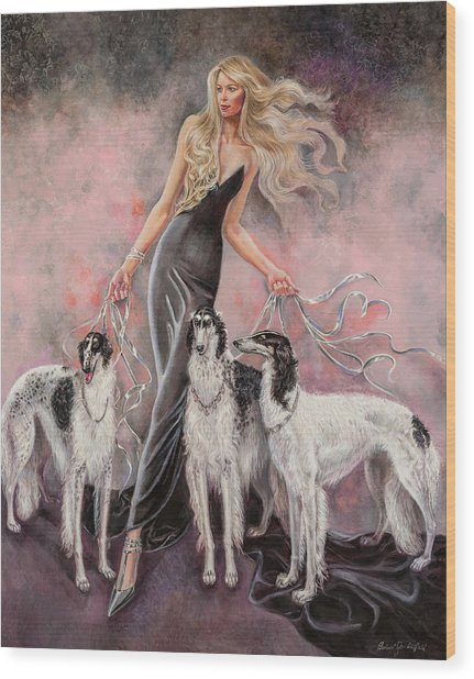 Babs With Three Borzois Wood Print by Barbara Tyler Ahlfield