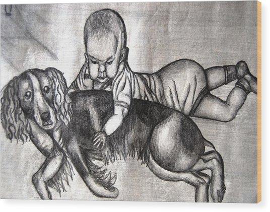 Baby And Dog Wood Print