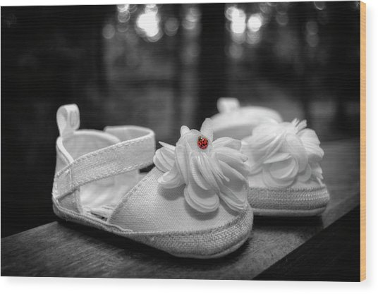 Baby Bootie Bug - Red Wood Print