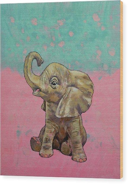 Baby Elephant Wood Print