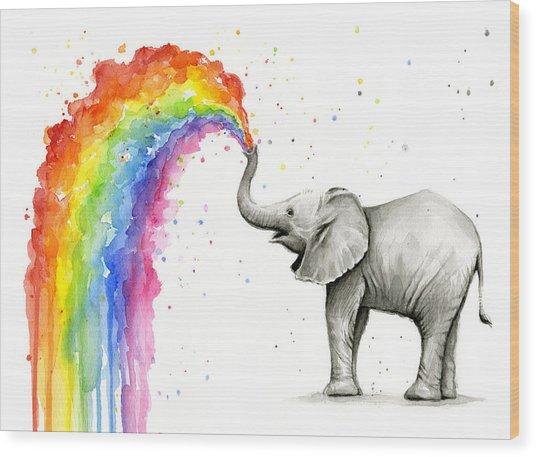 Baby Elephant Spraying Rainbow Wood Print