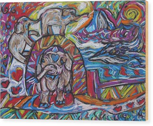 Baby Elephants By The Sea Wood Print