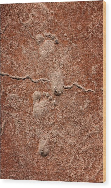 Baby Footsteps Etched In Stone Wood Print
