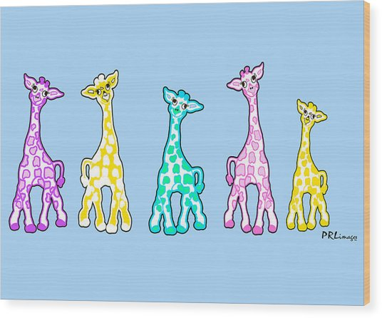 Baby Giraffes In A Row Pastels Wood Print