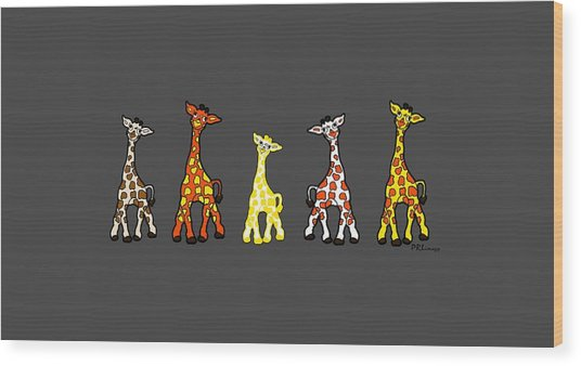 Baby Giraffes In A Row Wood Print
