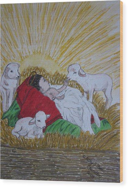 Baby Jesus At Birth Wood Print