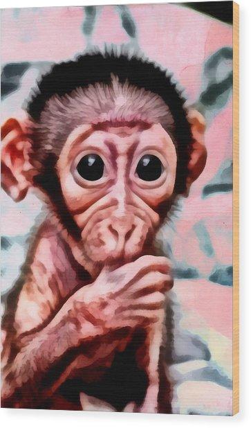Baby Monkey Realistic Wood Print